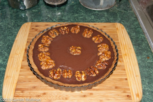 A photograph shows the tart in its pan
