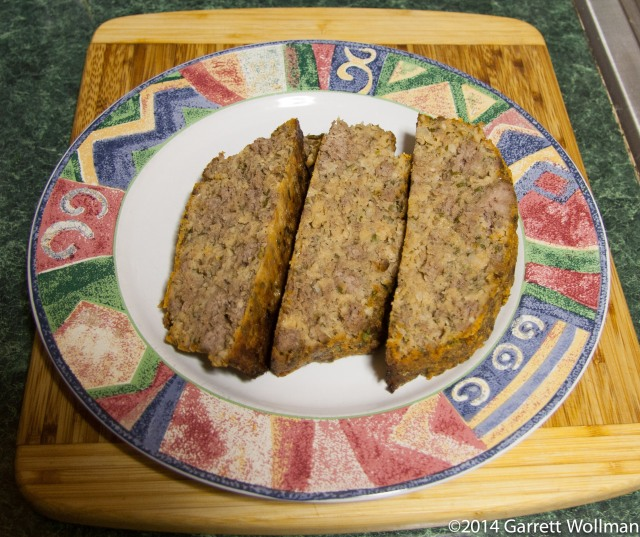 Photo showing three slices of meatloaf on a plate