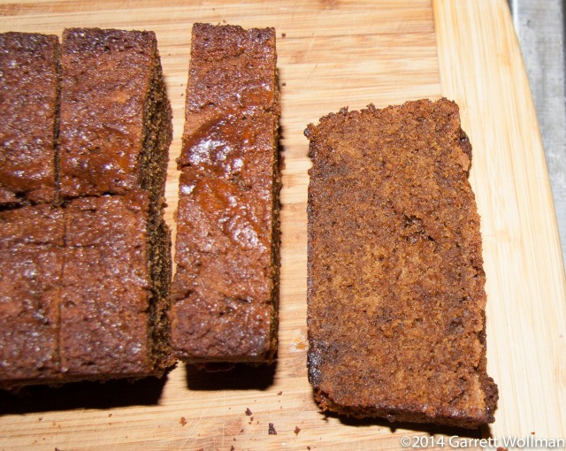 Photo showing four slices from a loaf of gingerbread. Two of the slices have been further cut in half.