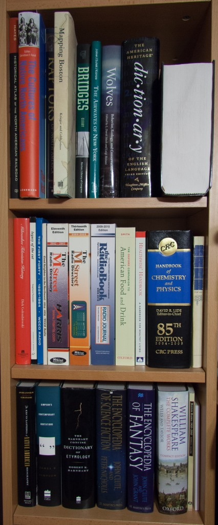Photo showing part of a narrow bookcase with three shelves, containing a variety of reference works