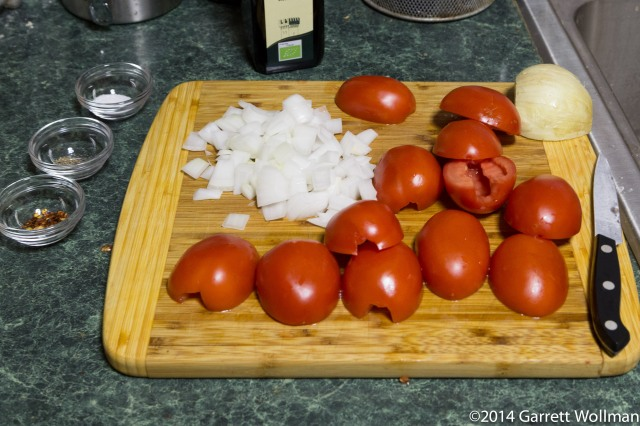 Mise-en-place for the tomato-onion jam