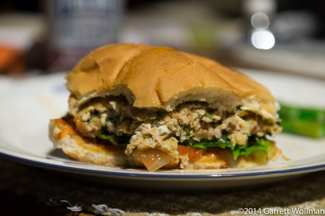 Half-eaten turkey burger