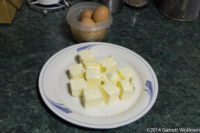 Five eggs and 22 tablespoons of butter