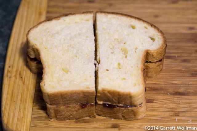 Peanut butter and jelly sandwich, on brioche