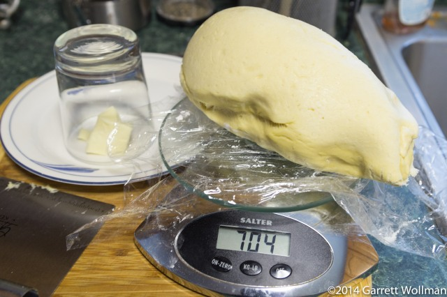 Half of dough ball on scale