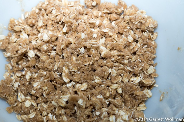 Closeup of oat crumble