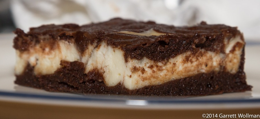 Cream-cheese brownie in cross-section