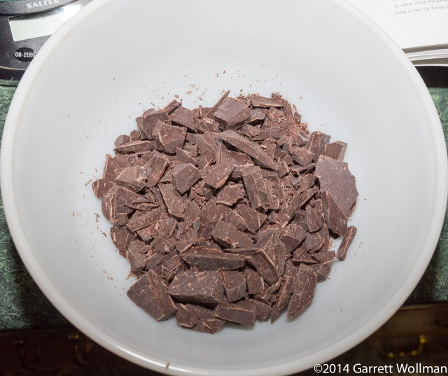 285 grams of chopped Valrhona Caraïbe