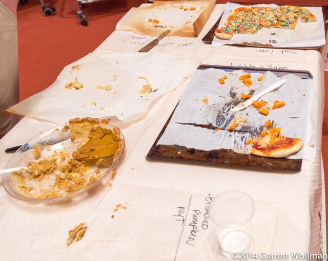 Patrice's pumpkin pie, and the remains of four pizzas