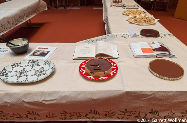 Two tarts, a torte, and an empty plate