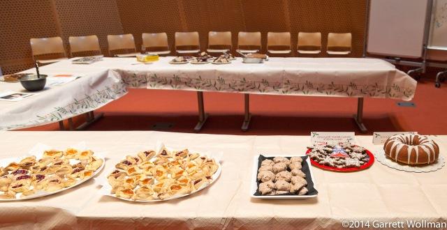 Hamentashen, chocolate meringues, chocolate sugar cookies, and a
