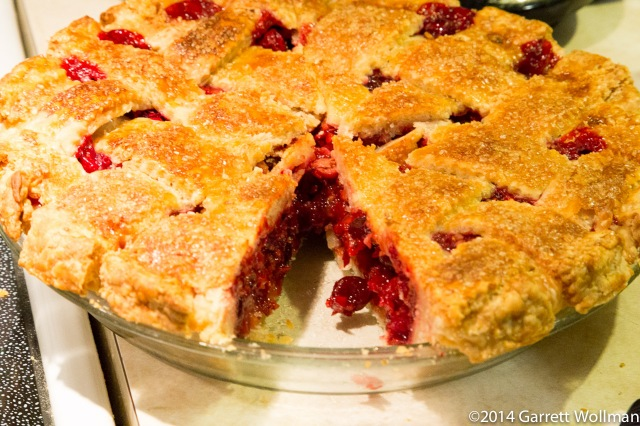 Cranberry-sage pie, minus one slice