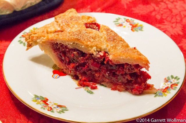 Slice of cranberry-sage pie