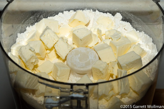 Cutting butter into flour using a food processor