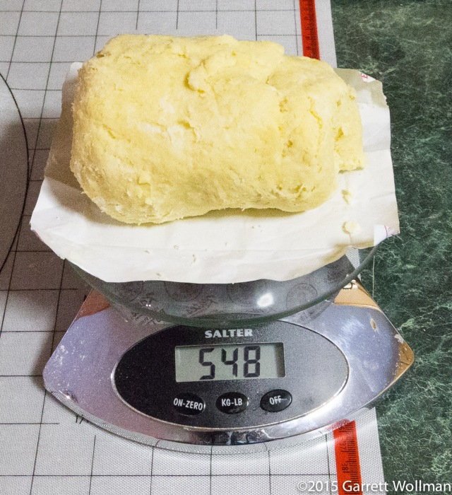 Fully prepared dough, on the scale
