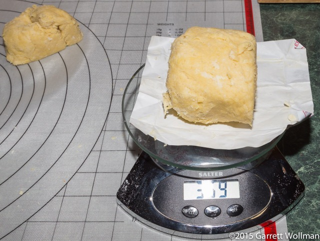 Dividing the dough into two pieces