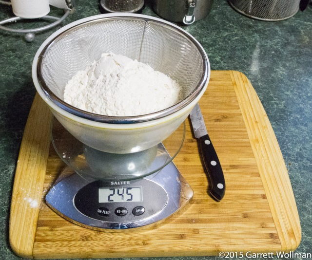 Weighing out the flour