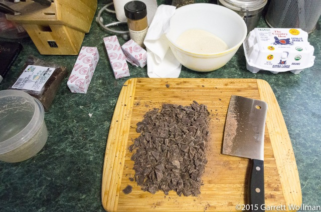 Half of the chocolate is chopped