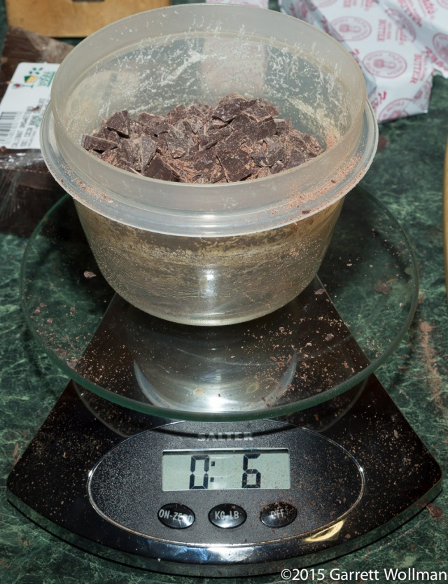 Weighing out the chopped bittersweet chocolate