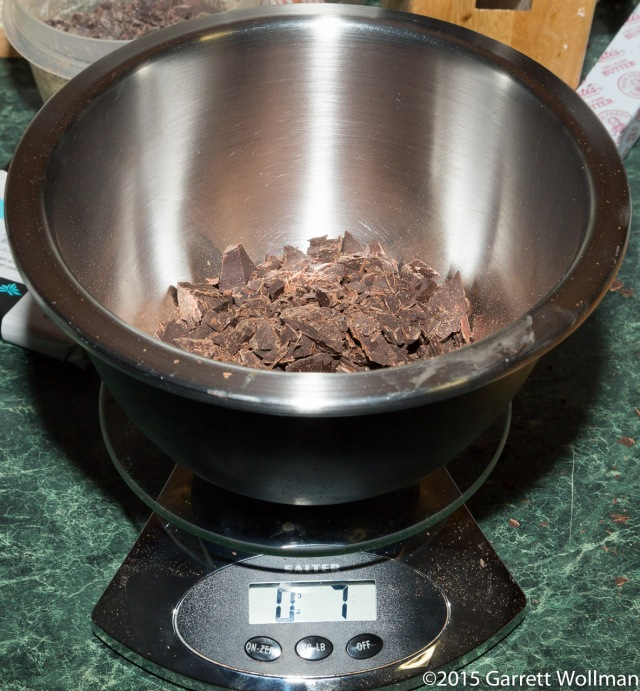 Weighing out the chopped unsweetened chocolate