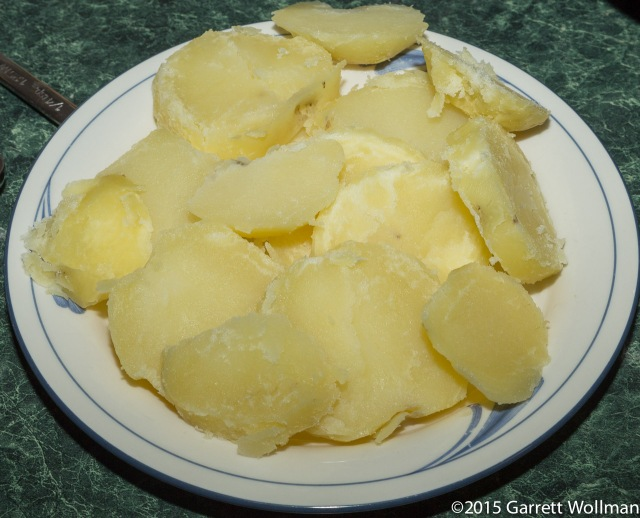 Cooked potatoes, after peeling and slicing
