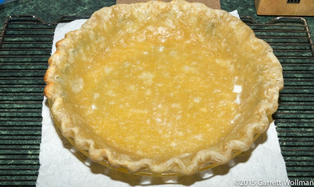 Empty cornmeal pie shell