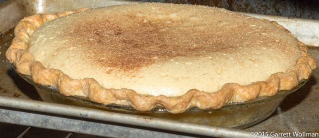 Pie ready to remove from oven, showing height above crust