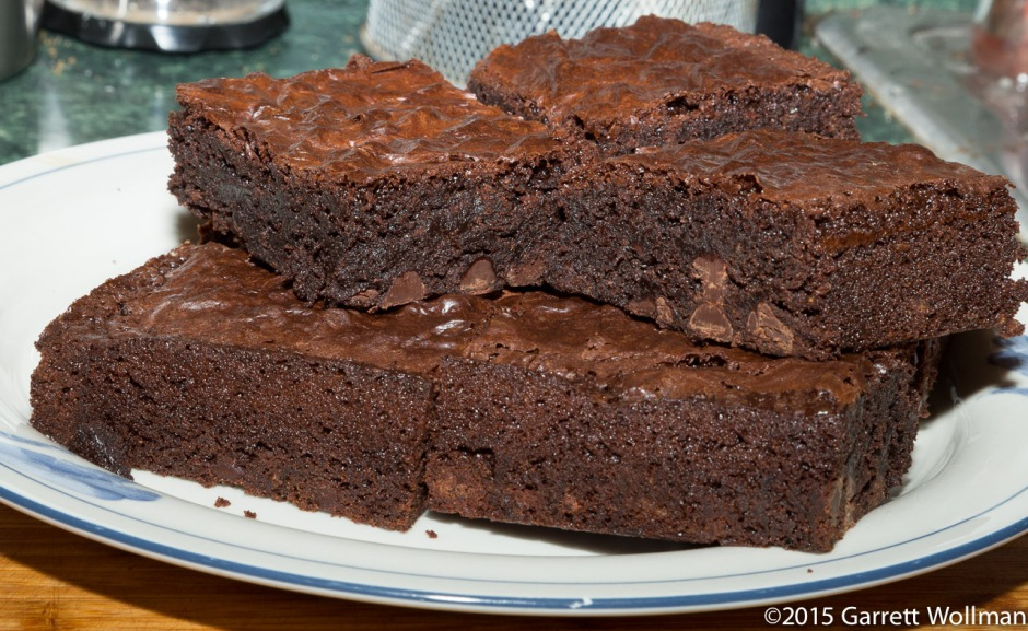 Another view of brownies on a plate