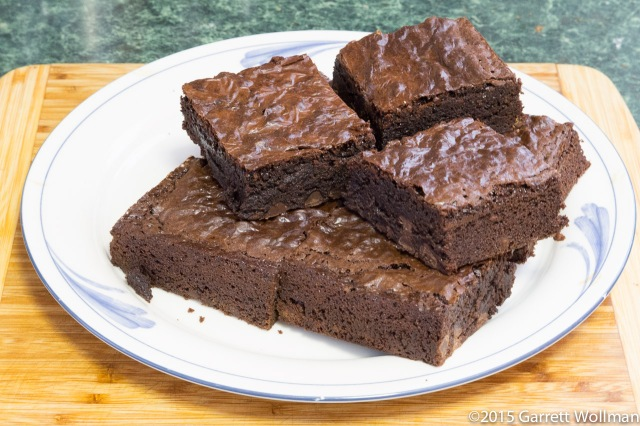 Plate of brownies ready to eat