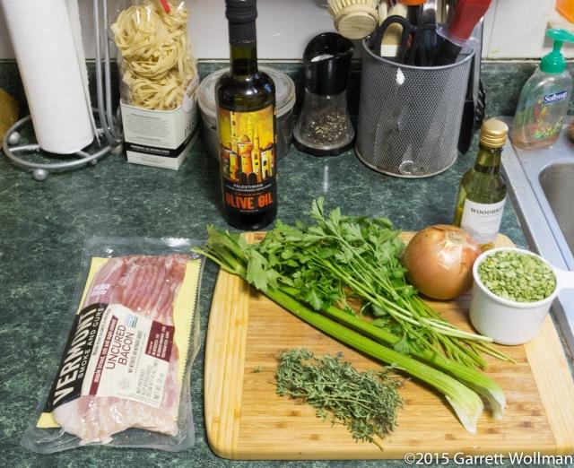 Mise en place for pea soup