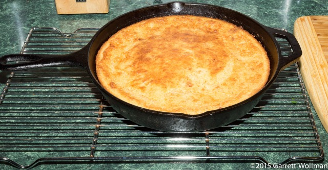 Finished cornbread hot from oven