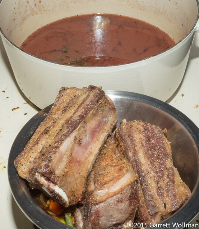 Braising liquid ready to reintroduce meat and veg
