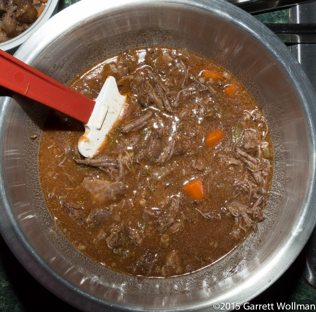 After mixing shredded beef and vegetable mush back into sauce