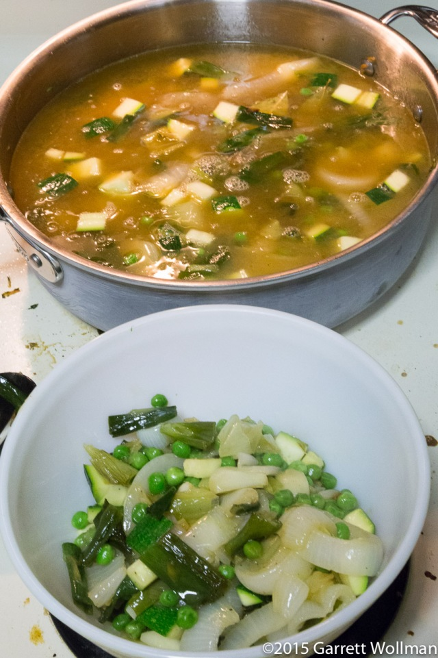 Vegetables divided and broth added