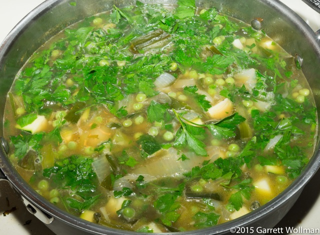 Parsley added to soup base