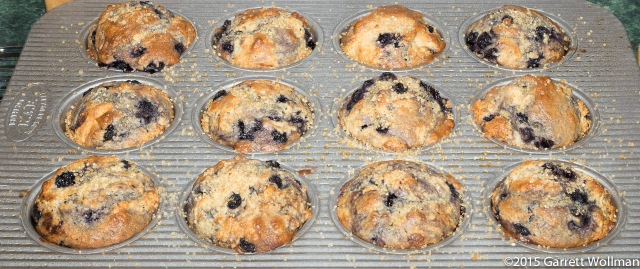 Fully baked muffins, hot from the oven