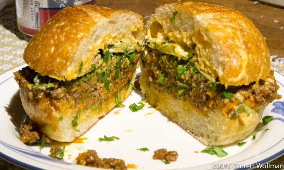 Dinner plate with sloppy joe bánh mi