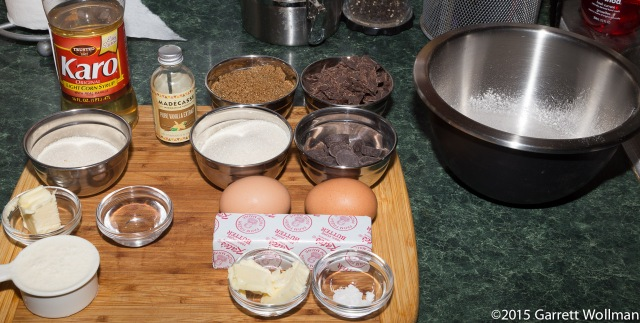 Mise en place (caramel ingredients on left)
