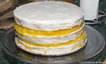All three layers of cake, on cake stand