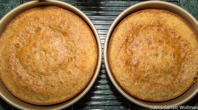 Two baked cakes cooling on rack