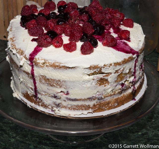 Completed layer cake on stand