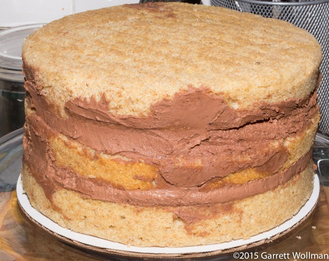 All three layers of filled cake
