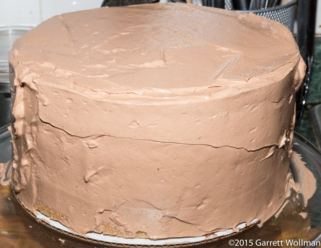 Cake after applying chocolate buttercream