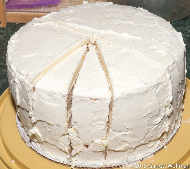 Partially sliced cake showing portions
