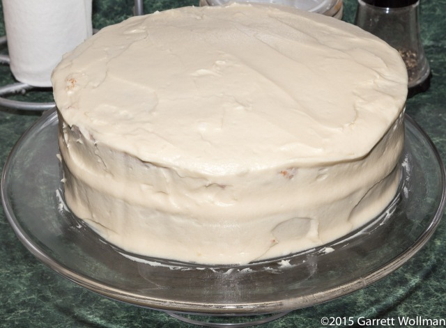 Cake covered entirely in frosting