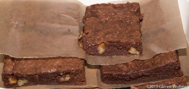 Portioned brownies ready for transport