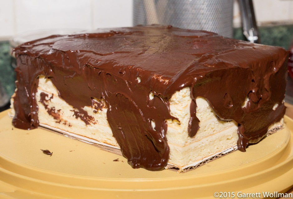 Cake after spreading ganache on top