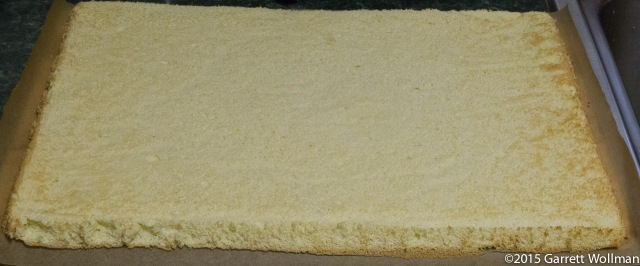 Sponge cake with parchment bottom peeled off