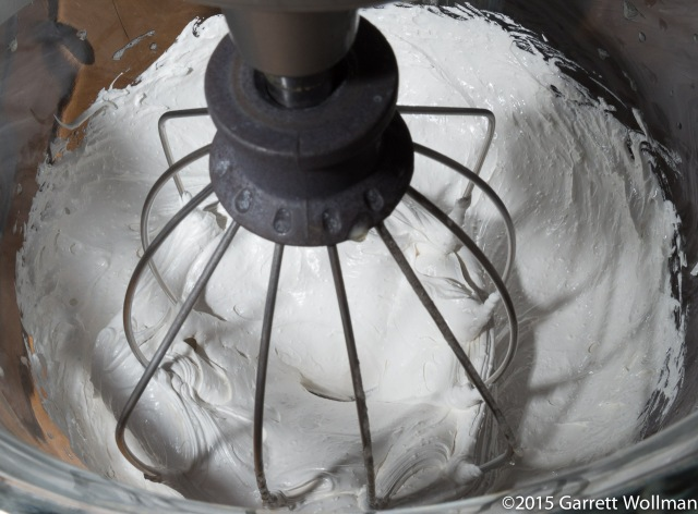 Meringue for buttercream being whipped