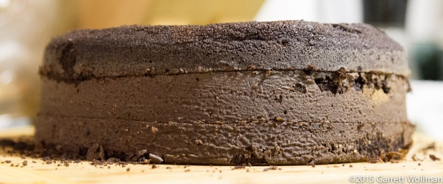 Closeup of cake, dome removed and body sliced in thirds (natural light)